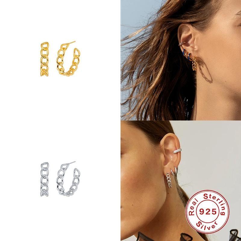 Aide Real 100% 925 Sterling Sterling Creux Irregular Boucles d'oreilles Girls Inster Minimaliste Studing Boucles d'oreilles pour femmes Coréen Bijoux fins