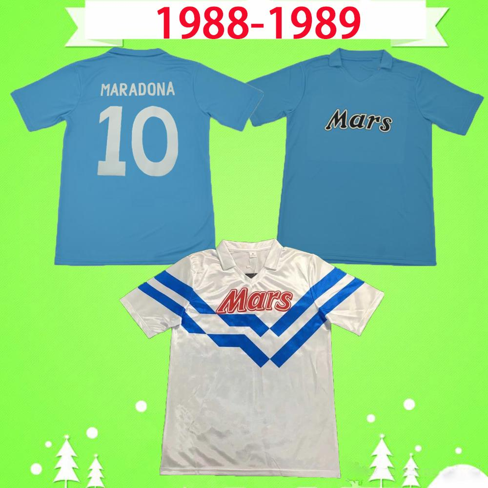 1988 1989 Napoli Maradona Careca Retro Nápoles Jerseys de fútbol 88 89 Camisetas de fútbol Classic Home White Azul Vintage Napoles Maglia