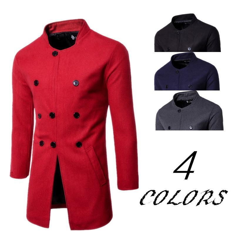 2020 New Style Mens Wear Fashion Slim Fit Stand Collar Three Buckle Woolen Coat Wholesale