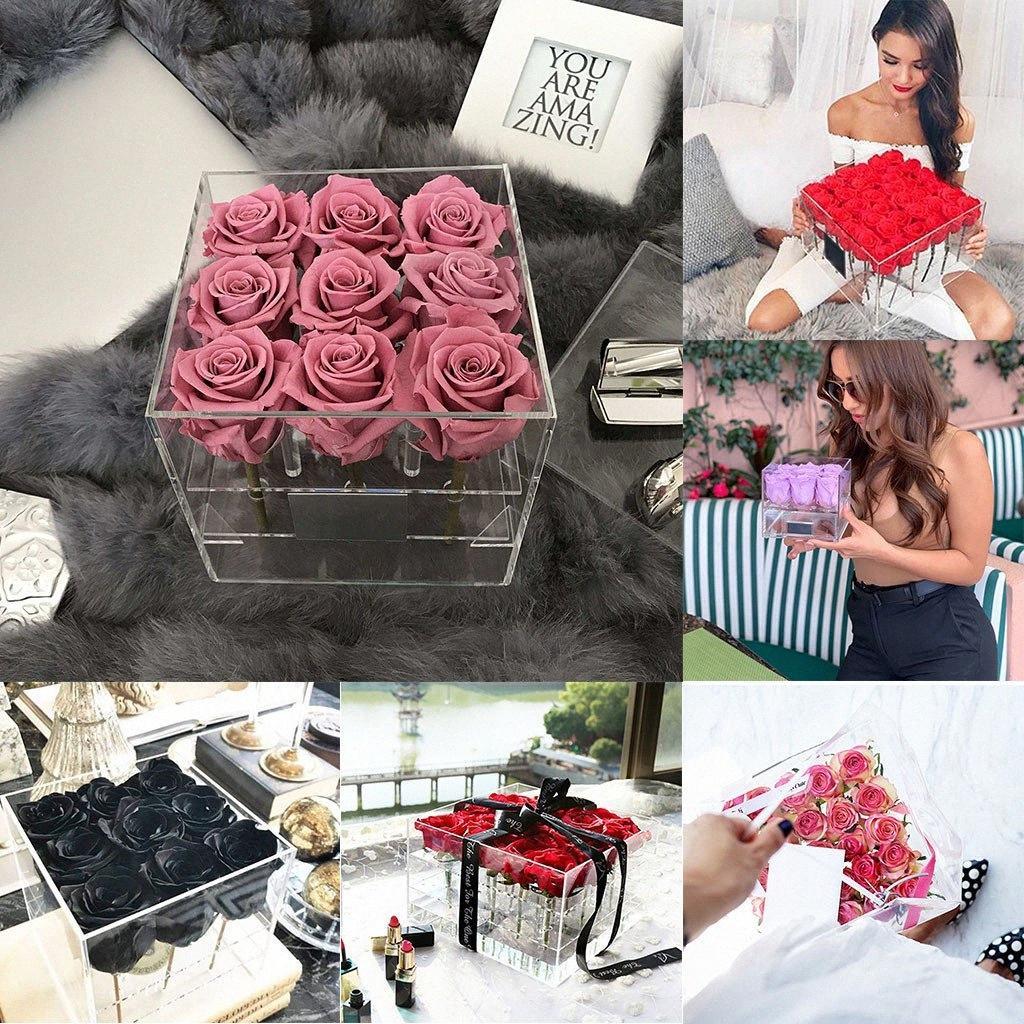 Extra Large Прозрачный акриловый цветок розы коробка с крышкой Романтические цветы Свежее Keep инструменты держатель цветок Подарочная коробка для Girlfriend Wom L3wg #