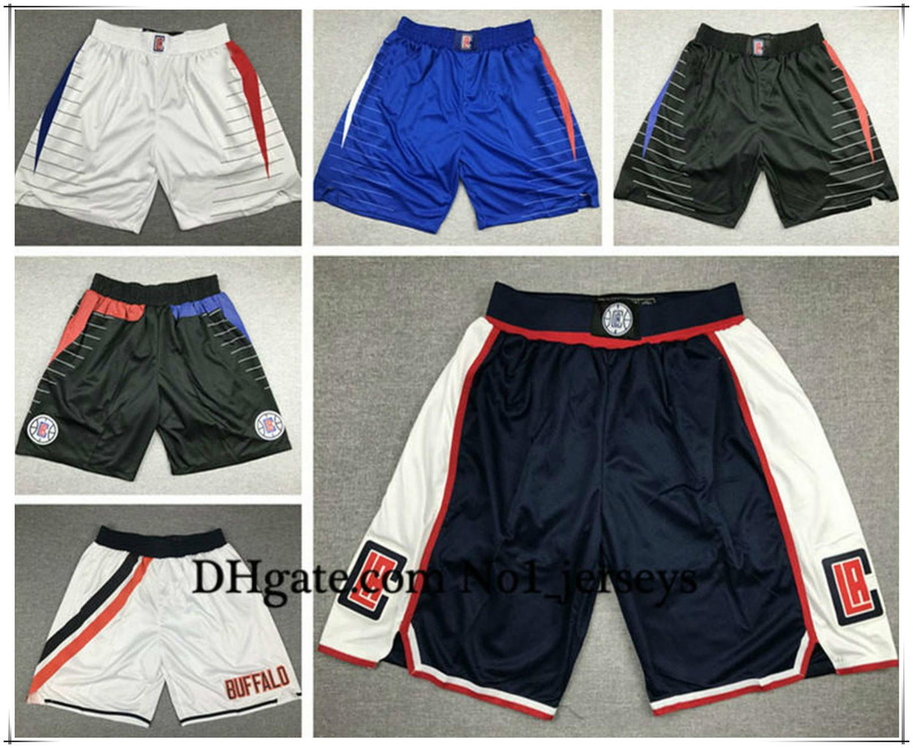 NCAA MensLAClippers Leonard 13 George 32 Griffin Stitched Shorts Vintage Breathable Pants Sweatpants Classic Basketball Shorts