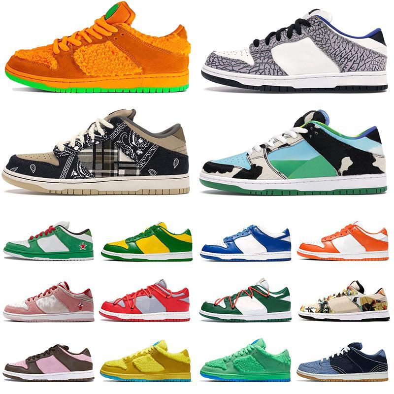 Nuevo Dunk de alta calidad SB Bajo Zapatos al aire libre para hombres Travis Travis Dunks Sashiko Chunky Dunky Off Fashion Hombres Zapatillas de deporte Entrenadores al aire libre