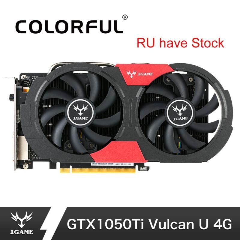 Placa gráfica 1050Ti colorido NVIDIA GeForce GTX iGame GTX1050 Ti Gaming Placas de Vídeo 4GB GDDR5 de 128 bits GPU Para PC placa de vídeo