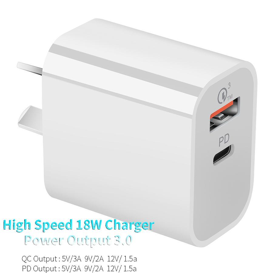 100-240V 18W PD QC3.0 Chargeur rapide Chargeur rapide pour Tablet Tablet Tablette Au Chargeur Fiche avec la certification SAA CE FCC ROHS