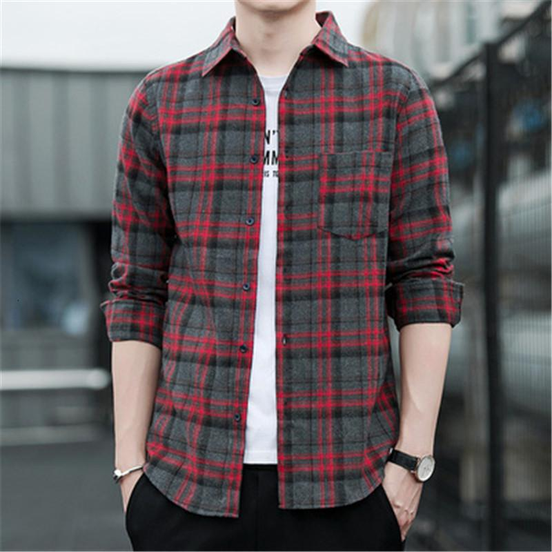 Spring and Autumn Plaid Shirt Men's Long Sleeve Shirt Jacket Korean Trend Loose and Handsome Sunscreen Couple Wear