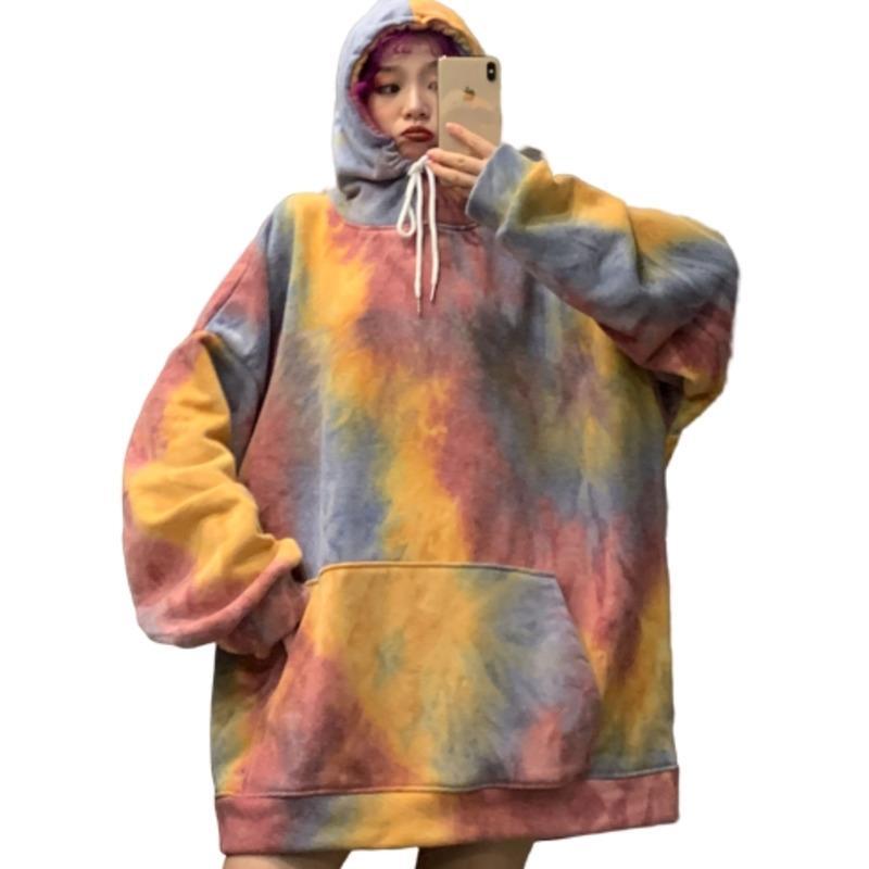 Renkli Rahat Kadın İpli Kapşonlu Kazak Bahar Sonbahar Kravat Boya Uzun Kollu Boy Hoodies Harajuku Ceket T200904