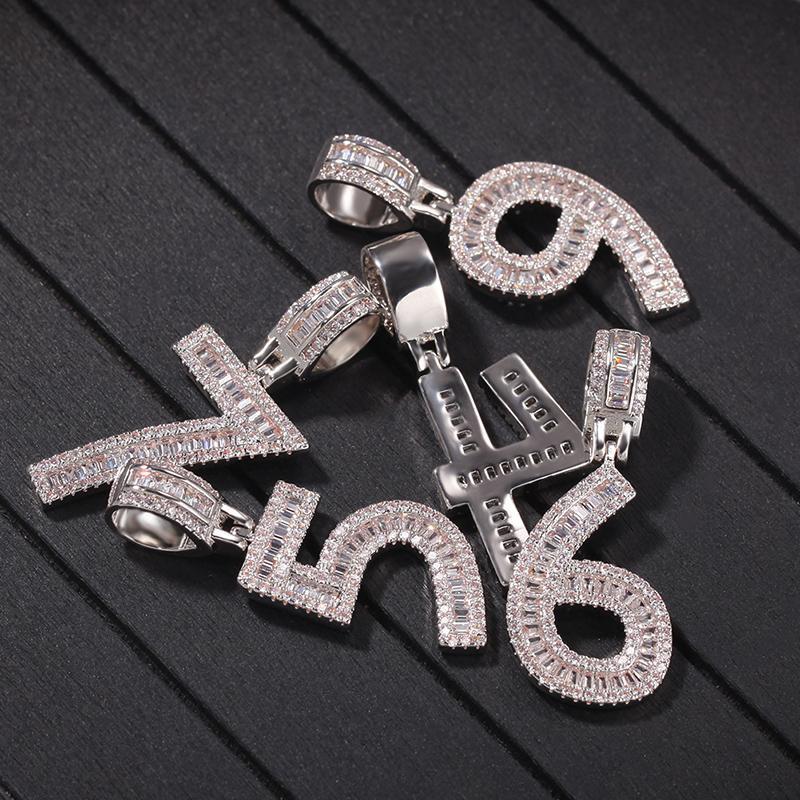 Micro Pave + Cubic Zirconia Bling Out árabes Números pingentes colares para mulheres dos homens de Hip Hop Rapper Jóia da cor do ouro