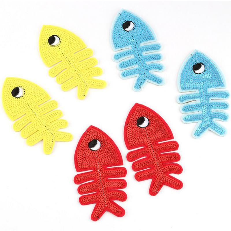 Parches de alta calidad Insignias de costura para tela Forma de pescado Forma Tendencia Parches Accesorios para apliques para parches de lentejuelas de vestir