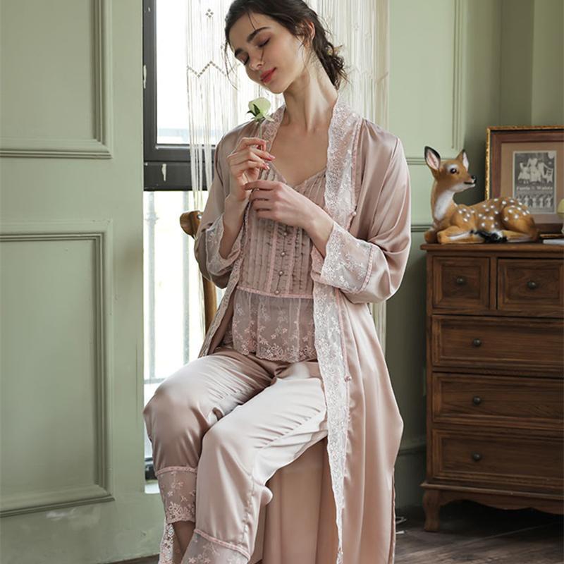 Robe manches longues robe élégante femme robe vêtement de nuit 3 pcs ensemble pyjamas robe costume satin 201031