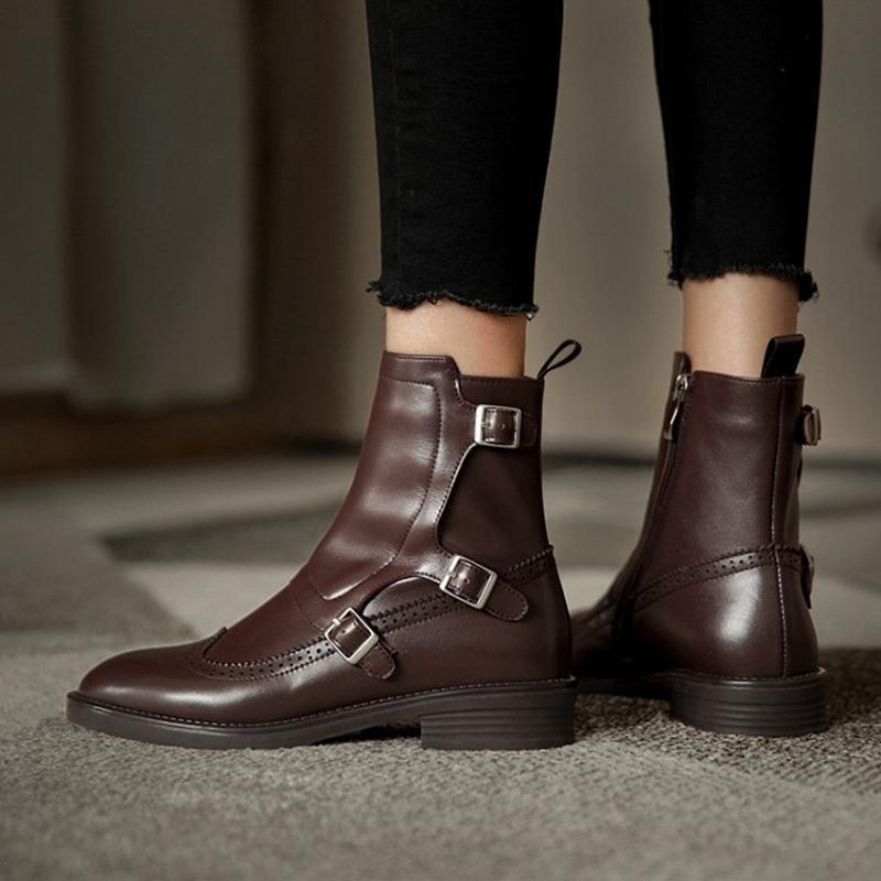 Kış yeni kadın ayakkabı, deri düşük topuklu kısa çizmeler, retro moda sivri toka dekorasyon kadın batı çizmeler 201124