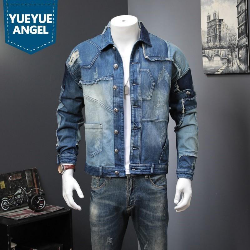 Весна осень старинные мужские сращенные джинсовая куртка мужчина повседневная уличная одежда хип-хоп Свободные подходящие пуговицы Одиночная грудящая байкер Джин-пальто C1108