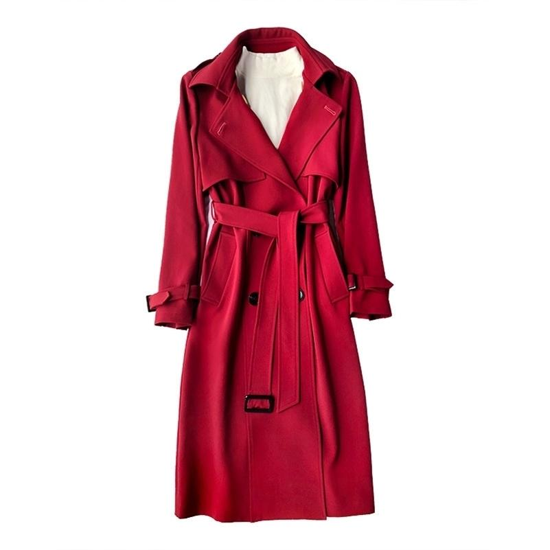 New Fashionfall / Outono Casual Duplo Breasted Simples Clássico Long Trench Revestimento com Cinto Chique Feminino Windbreaker 201028