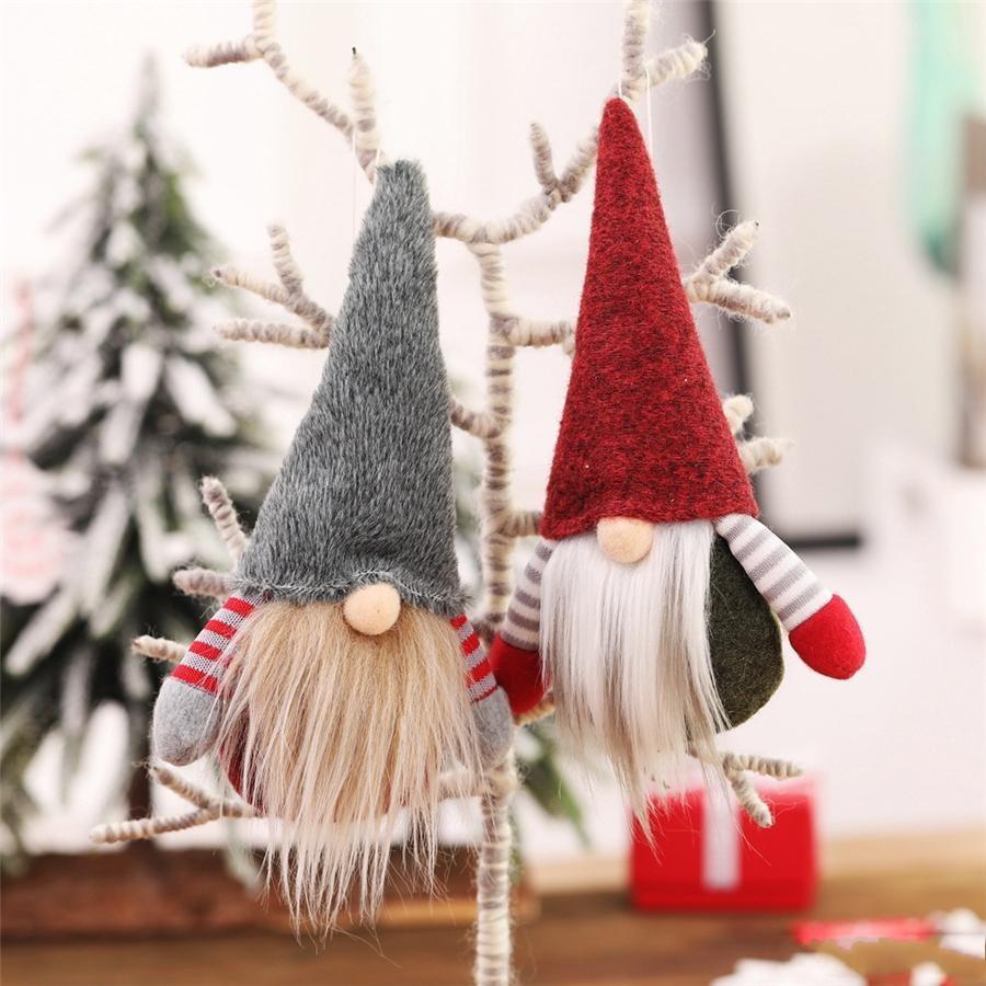 10 pièces DHL Noël à la main suédoise Gnome scandinave Tomte Père Noël Nisse nordique en peluche Elf Toy Table Ornement Arbre de Noël Décorations FY7174