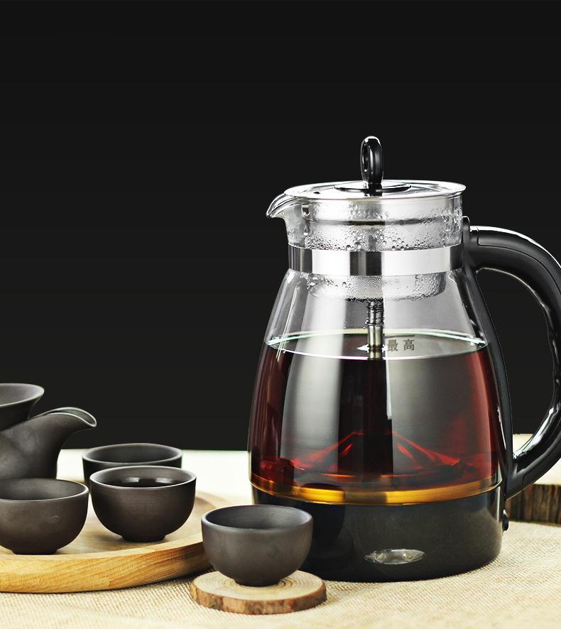 Электрический чайник кофеварка чайник черный PU «эр стекла электрический чайник пара чайника автомат типа набор