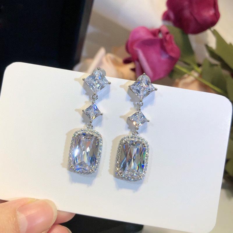 Люстра свисания 2021 высокая мода 925 стерлинговые серебряные серебро 925 роскошные изысканные украшения для женщин кисточек вручную верхняя часть циркона