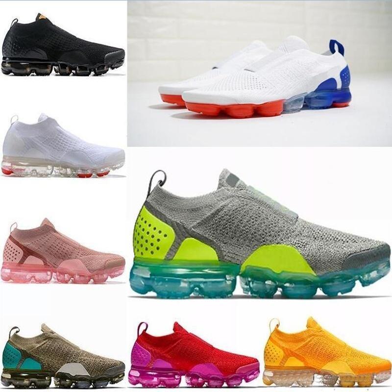 Vapormax 2.0 Flyknit Vapor max 2020 2018 CHAUSSURES는 Moc 2 Laceless 2.0 실행 신발 배 블랙 디자이너 남성 여성 스니커즈 플라이 화이트 니트 쿠션 트레이너 Zapatos