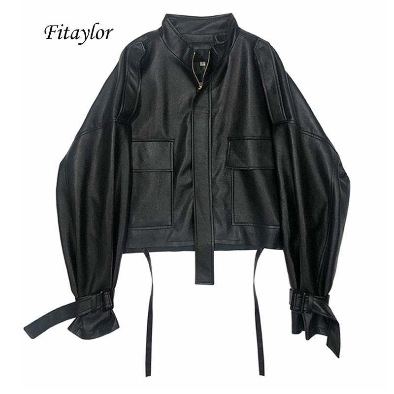 Fitaylor New Automne Femmes Faux doux Pu veste moto en cuir Casual vrac simili cuir noir en cuir Punk Zipper Pardessus 201022