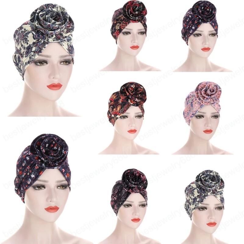 Yeni Kadın Baskı Büyük Çiçek Müslüman Eşarp Hijab Şapka Başörtüsü İslam Atkılar Türbante Femme Şapkalar Cap Bonnet Saç Aksesuarları