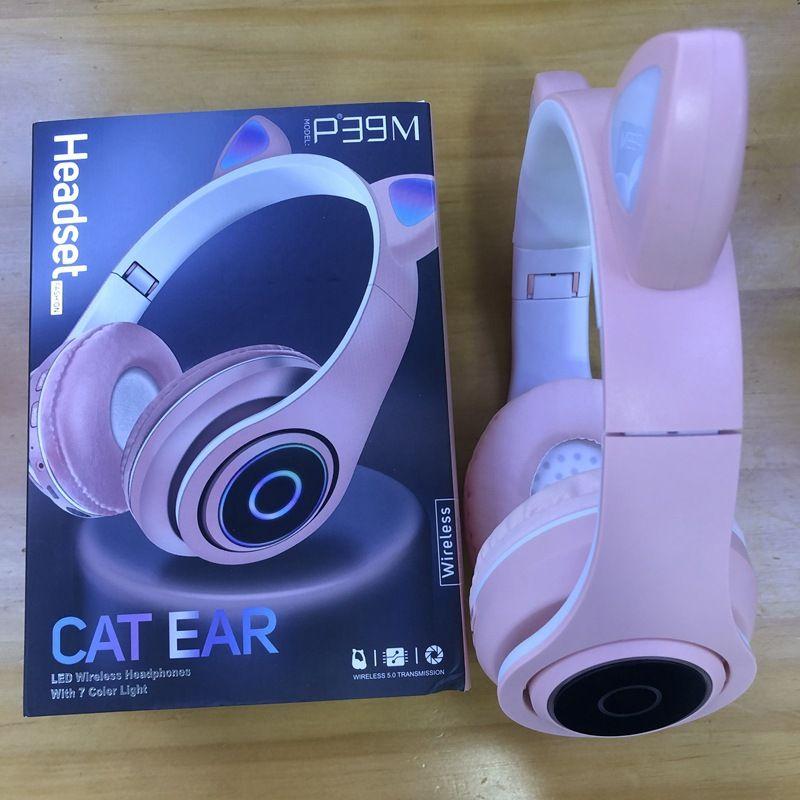 Cat Hot Orecchio LED Wireless Headphones P39M Carino Bluetooth 5.0 cuffia TF di sostegno con Package
