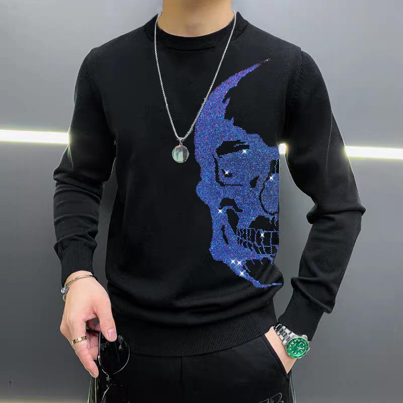 Suéteres para hombres 2021 de alta calidad degradado de gran tamaño Rhinestone Skull Suéter Pullover M-5XL Sudadera