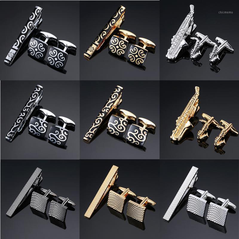 Yenilik Yüksek Kalite Manşet Bağlantıları Kravat Pin Için Kravat Klip Erkek Hediye El Kravat Barlar Kol Düğmeleri Klip Set Jewelry1
