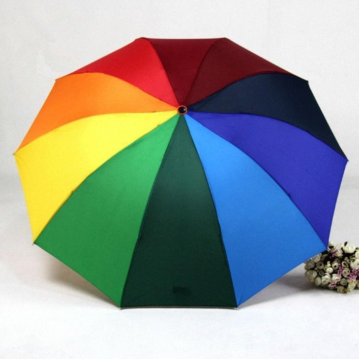 HOT Creative Belle couleur arc-en-parapluie pluie Femmes Femme arquéesLes Parapluies Mignon pliant Parasol cadeau DOeU #
