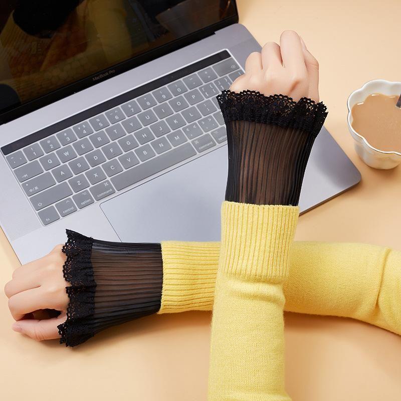 1 пара корейских женщин девушки Поддельные Flared рукава Vintage Lace плиссе Съемные рукава Поддельные Манжеты свитер Декоративные Ложные Манжеты