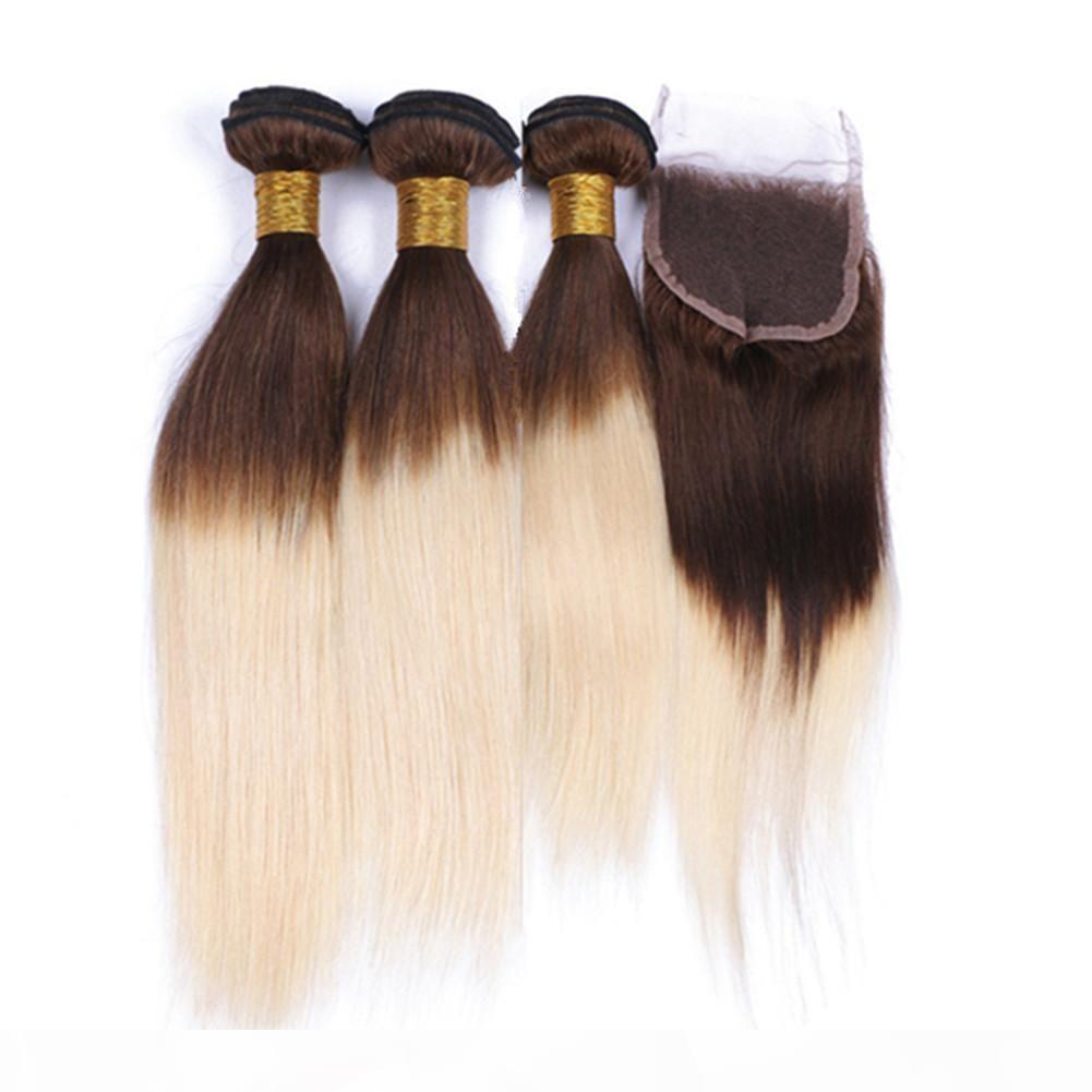 Gerade verwurzelte mittelbraune und blonde ombre brasilianische jungfrau-haarfetten mit Verschluss zwei Tonnen # 4 613 Ombre 4x4-Spitzenverschluss mit 3bundles