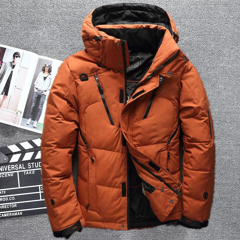2019 la nieve del invierno por la chaqueta de los hombres caliente grueso abrigo Escudo algodón ocasional rompevientos con capucha blanca Parkas pato abajo de la chaqueta de los hombres S191128