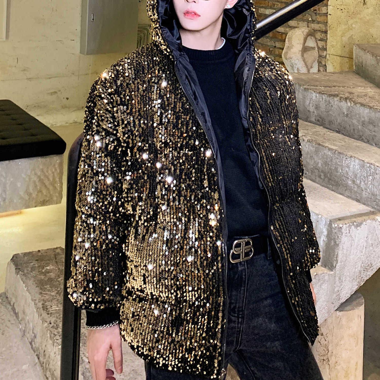 Lantejoula parka jaqueta inverno streetwear palco casaco homens winterjas heren hooded winter jaqueta de inverno ouro siver festa festa clube desgaste