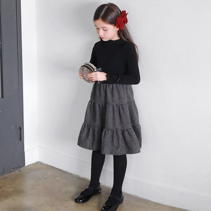 Kızlar elbise 2020 yeni sonbahar kış çocuklar ekose elbise elastik örgü üst patchwork bebek prenses elbise çocuk parti yün, # 5405 W1227