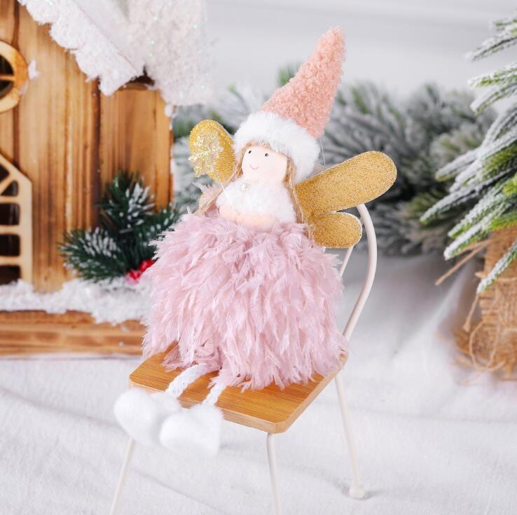 Enfeites de Natal Pendant Árvore pena de suspensão Presentes Little Girl Angel Doll Xmas macia mão Crafts Elves Detalhes crianças Yl527