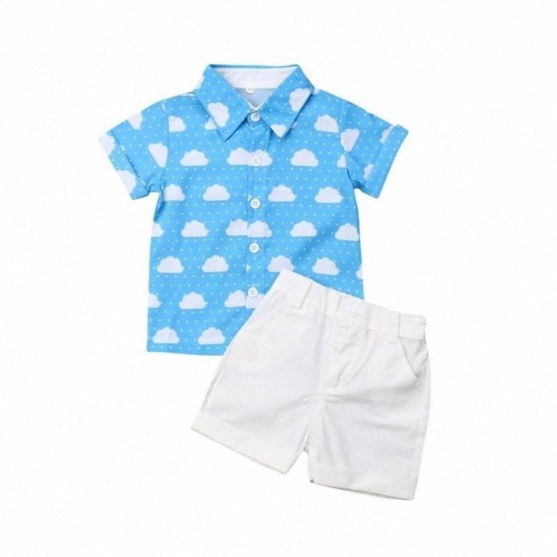 Summer toddler boy suit white cloud print short sleeve shirt shorts fashion outdoor baby boy clothes 2Pcs xTiR#