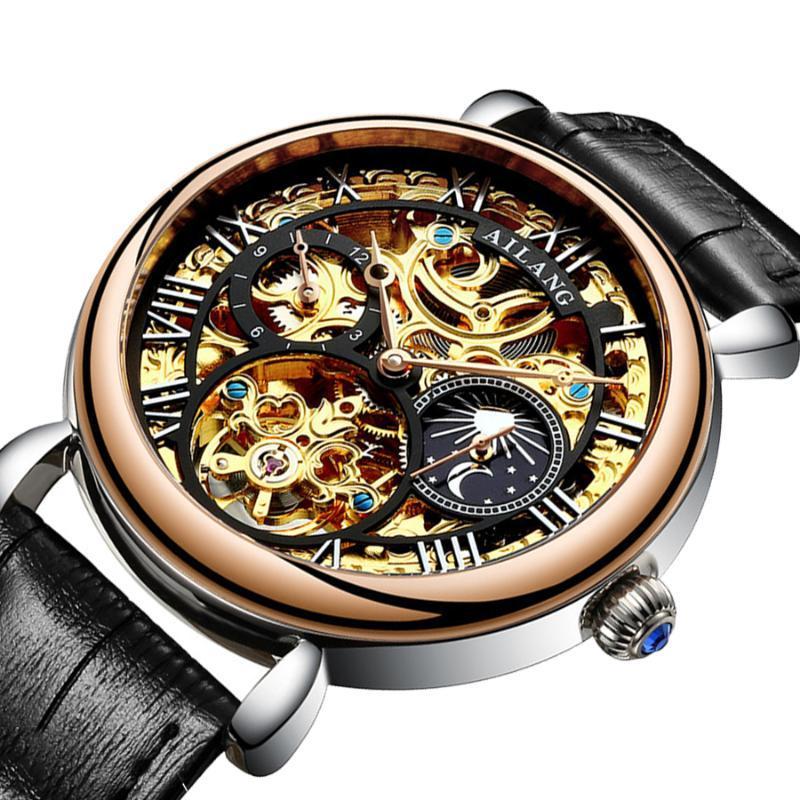 Reloj para hombre del hombre de negocios de la vendimia Esqueleto Relojes AILANG diseño clásico fase de la luna de los hombres de Steampunk mecánico automático del reloj de Tourbillon Top