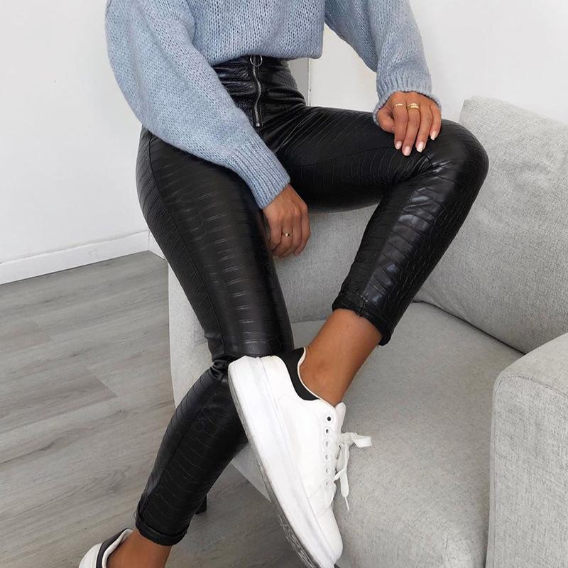 Elegant High Waist Black Faux Leather Pants Women Pencil Skinny legging Ladies Office Casual Slim PU Leather leggings 2021