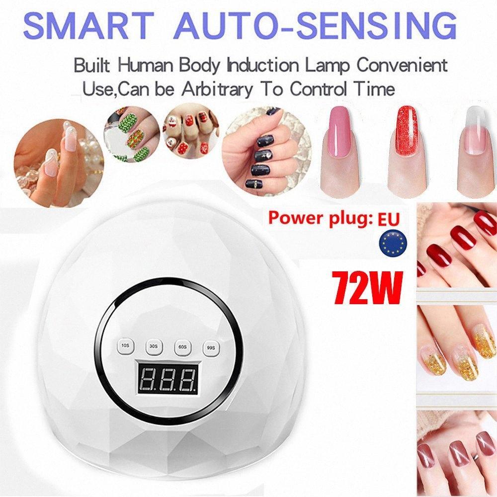 72W UVLamp светодиодные лампы для ногтей Nail Сушилка для кнопки леча гель польский Sun Light Маникюр машина Таймер Датчик Art ToolsG704 5RXB #