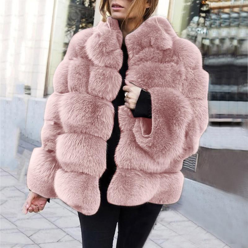 المرأة الفراء فو المنك معاطف النساء 2021 الشتاء الأعلى الأزياء الوردي معطف أنيق سميكة الدافئة قميص وهمية سترة chaquetas موهير # J30