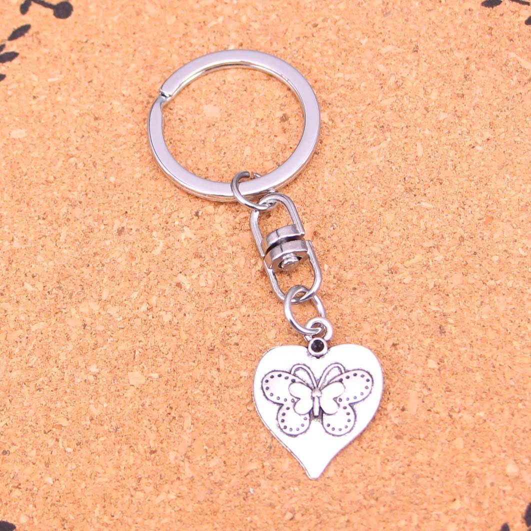 Mode Keychain 25 * 20mm coeur papillon Pendentifs bricolage Bijoux voiture Porte-clés Anneau Porte-souvenir pour cadeau