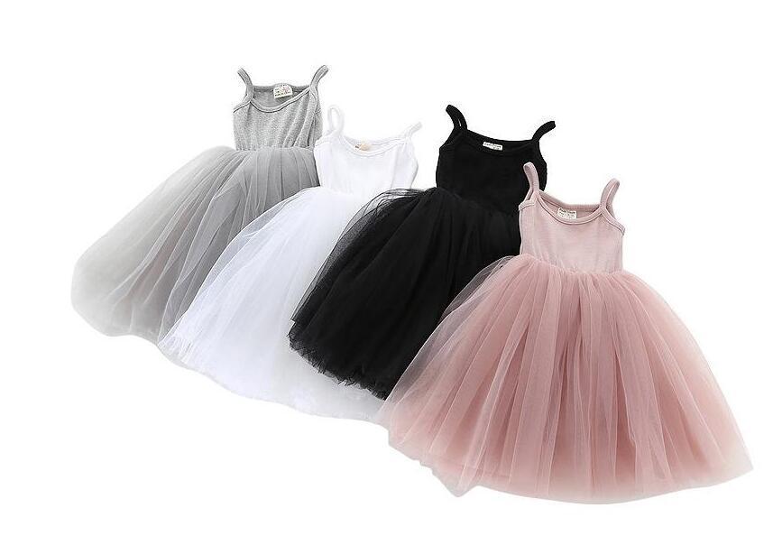 Baby Girls Lace Tulle Sling Dress Crianças Suspender Mesh Tutu Princesa Vestidos 2021 New Summer Boutique Kids Roupas 4 cores