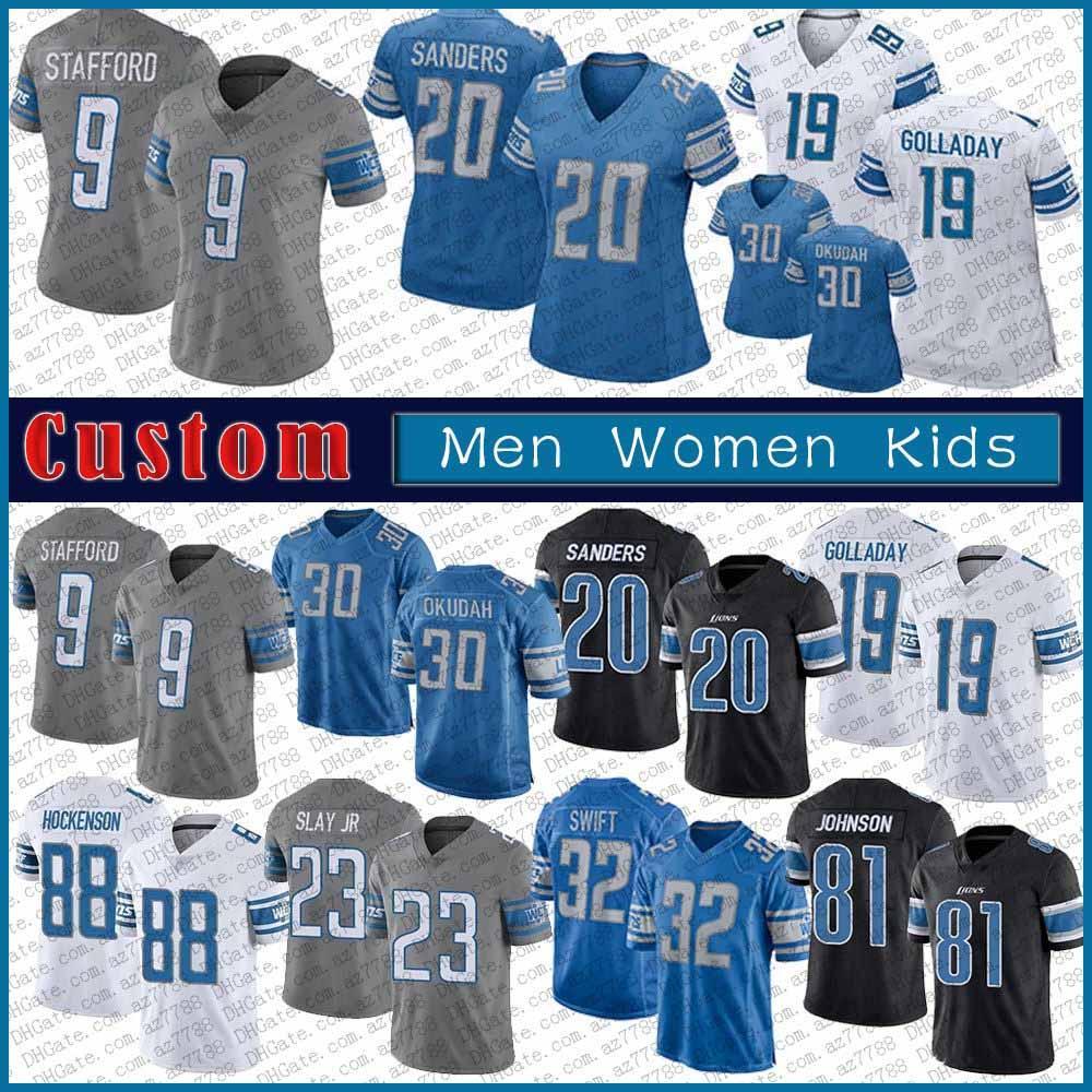 30 Jeff Okudah 32 D'Andre Swift DetroitAslan Custom Erkekler Kadınlar Kid Futbol Jersey 9 Matthew Stafford 19 Kenny Golladay 88 TJ Hockenson