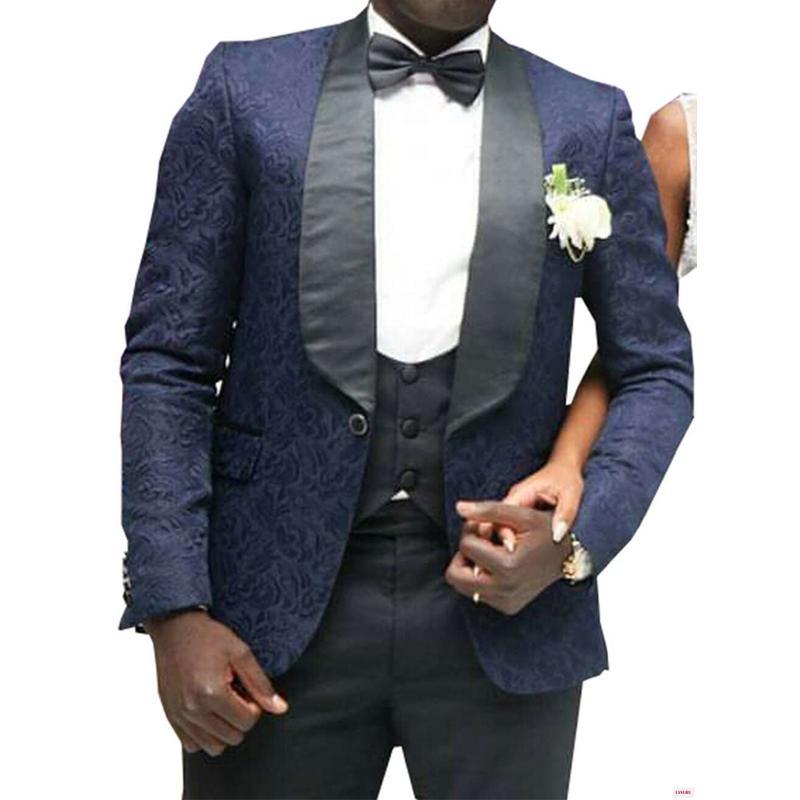 Nuovo Design elegante One Button Tute Blu Navy smoking dello sposo scialle risvolto Groomsmen uomo migliore Mens Wedding Suits (Jacket + Pants + Vest + Tie) 590