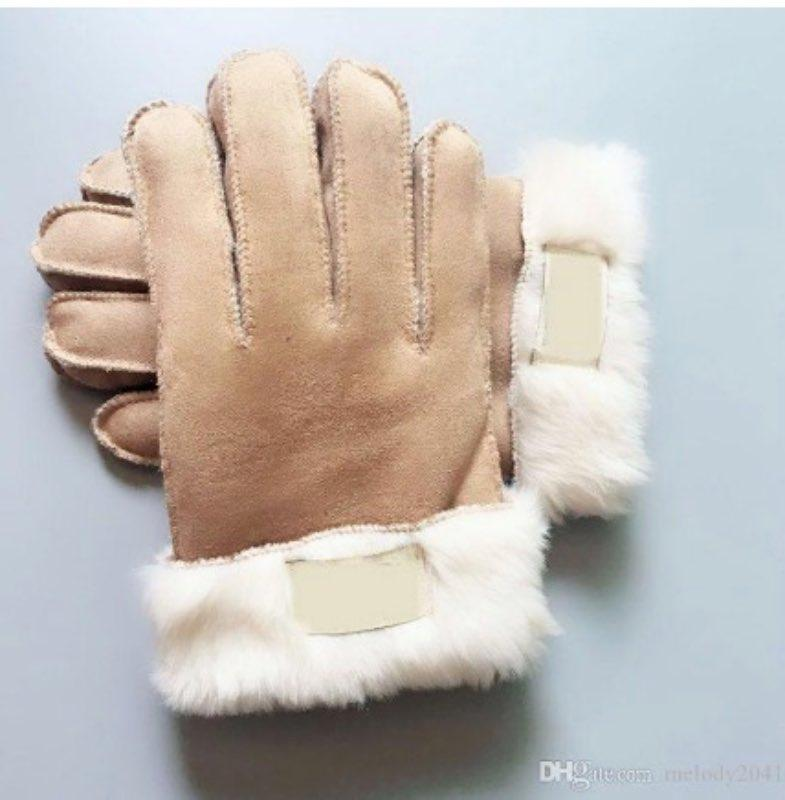 3 Renkler Toptan Kürk Eldiven Unisex Tasarımcı PU Deri Kadınlar Five Fingers Eldiven ile Kış Mat Deri