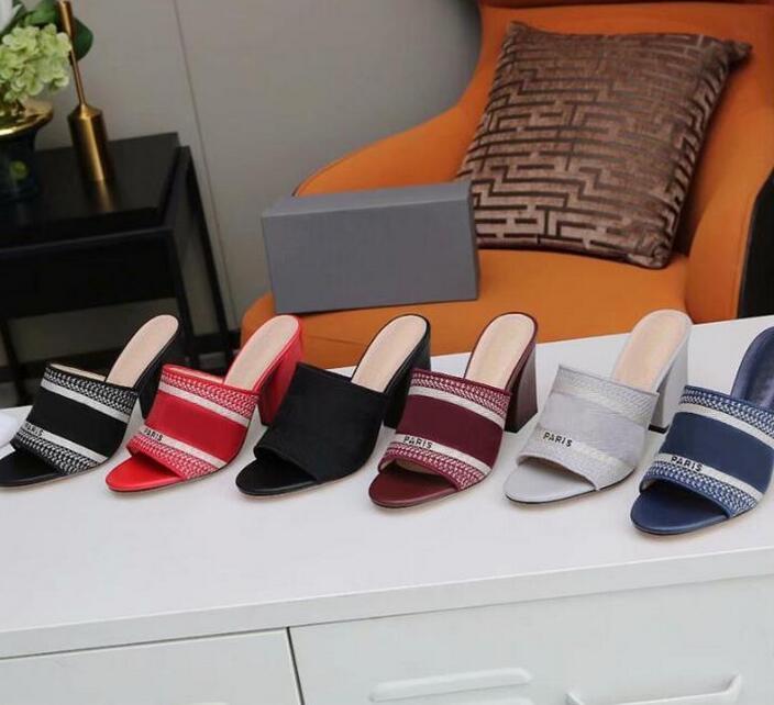 Womens Casual Hausschuhe BLOCK Ferse Sandalen Damen High Heels Leder Gestreifte Raubtiere Sandalen Fischer Hausschuhe Stylist Schuhe