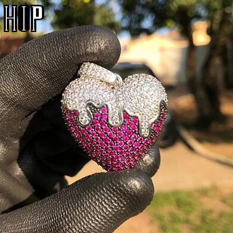 Hip Hop Rose Heart Pendant Iced Out Bling Cubic Zirconia AAA CZ Necklace & Pendant For Men Jewelry With Solid BackQ0115