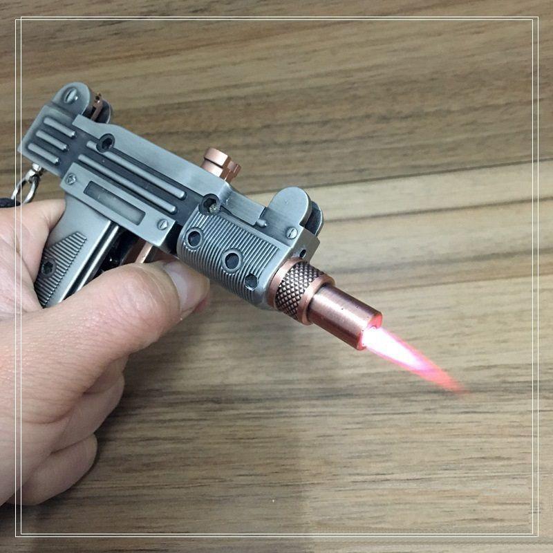 Pistolet Gun forme cigarette machine de mitraillette Briquet carabine jet métallique coupe-vent torche modèle d'affichage de mini-cadeau pistolet laser comme briquet