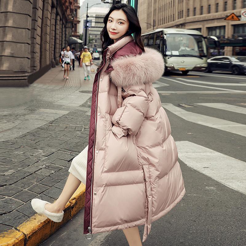 Echte Schuss Down Jacket Damenbekleidung Winter 2021 Neue koreanische Mode Mittlere Länge über Knieweiß Duck Down Collar