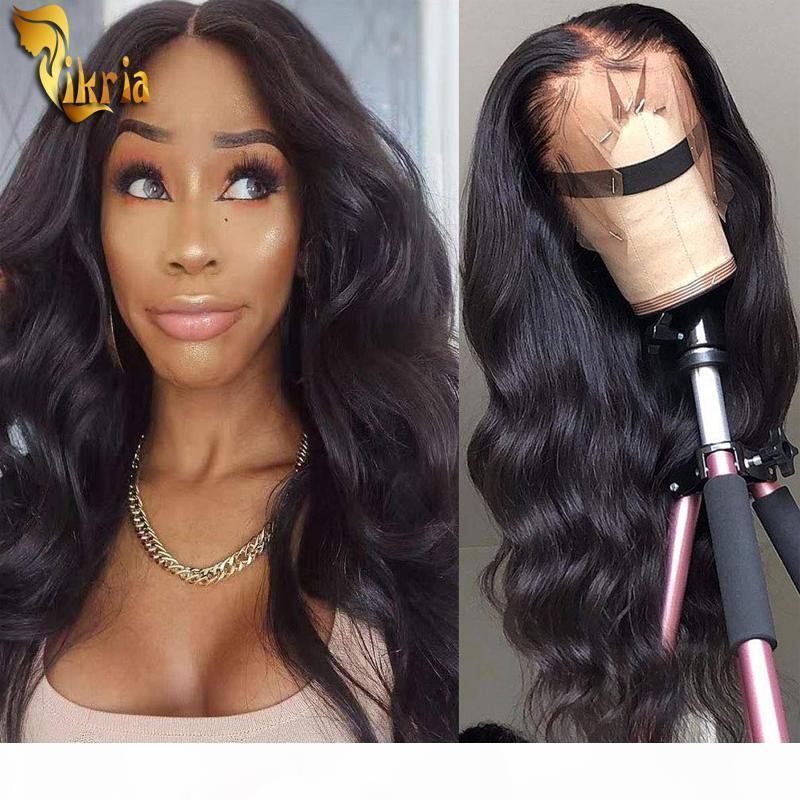 Virgin corpo não transformados Brasileira de onda Perucas 360 Lace Wig Cor Natural 8 ~ 24 polegadas Pré arrancado da linha fina com bebê cabelo da Mulher Negra