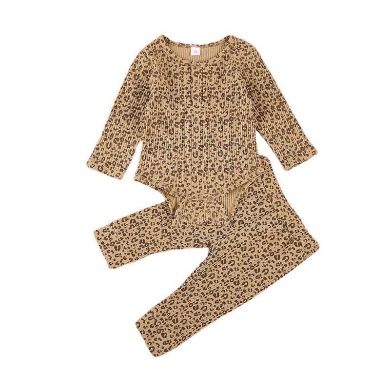 Ins moda leopar baskı bebek giysileri Bebek Giyim Yenidoğan Kıyafetler uzun kollu romper + pantolon pantolon 2adet / set bebek giysileri B2504