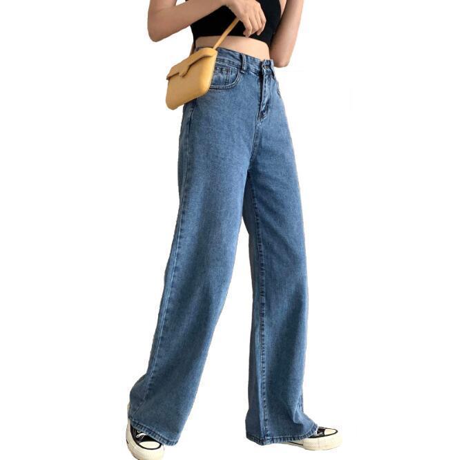 Donne coreane pantaloni casuali vita alta allentato Figura intera gamba larga Jeans