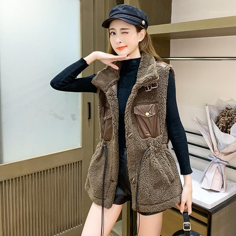 Женские жилеты 2021 осенью и зимний модный модный мех высокого воротника волосы ягненка длинное пальто женский1